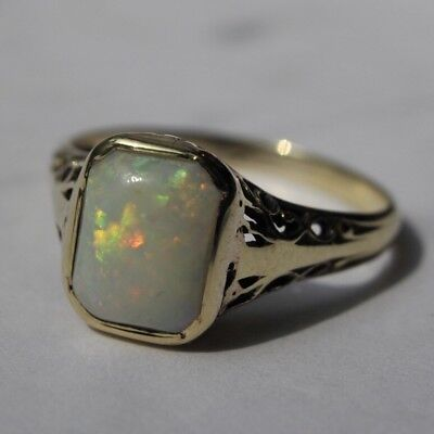 Art Deco Opal Ring Antique Edwardian c.1915 14k Solid Yellow Gold Filigree Ring