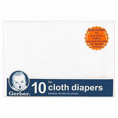 Gerber Flat-fold Birdseye Baby Infant Cloth Diapers, White Pack of 10 - 1782