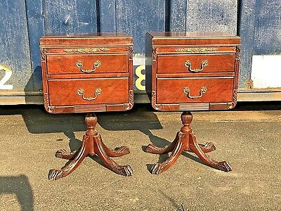 Vintage Chippendale Mahogany Nightstands Set White Furniture Co. Mid Century
