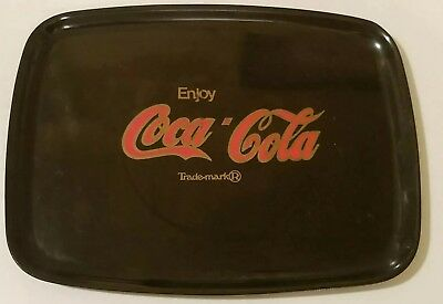 COCA-COLA TRAY by COUROC ~ BLACK W/ RED & GOLD INLAY ~ STICKER INCLUDED