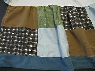 CoCaLo Baby Sports Fan  Crib Skirt GREAT CONDITION, BROWN PLAID, GREEN, BLUE