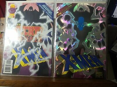 Lot of 2 Comic Books X-MEN 54 PRISMATIC ETCHED COVER #1414 COA Sealed VF+