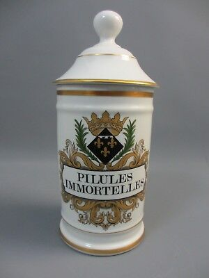 POT PHARMACIE PORCELAINE BLANCHE LIMOGES GALIEN PILULES IMMORTELLES H: 27 cm
