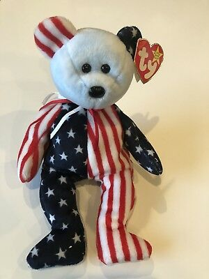 Retired! SPANGLE BEAR (Blue Face) TY Beanie Babies baby USA patriotic MWMT 1999
