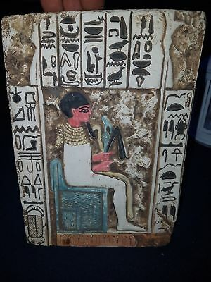 Egyptian Limestone Fragment Painted panel Wall Decor Ancient Art & Antiquities