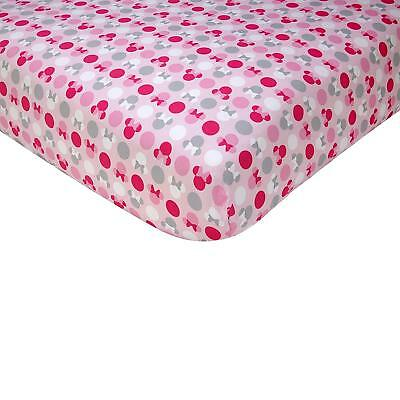 Disney Minnie Mouse Polka Dots 100 Percent Cotton baby  Fitted Crib Sheet