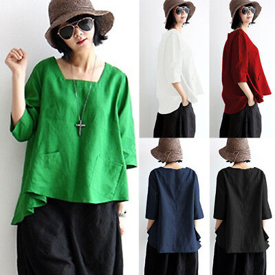 AU Womens Oversized Long Sleeve Cotton Linen Tops Casual Blouse T Shirt Pullover