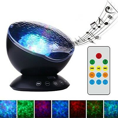 TOMNEW Mermaid Decor Remote Control Night Light Ocean Wave Projector 7 Colorful