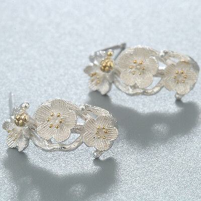 Cherry Blossom Accessories Branch Flowers Stud Earrings 925 Silver For Women