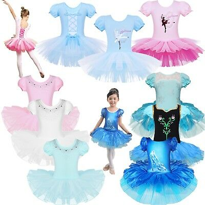 7067489cd GIRLS GYMNASTICS BALLET Dress Toddler Kids Leotard Tutu Skirt Dance ...
