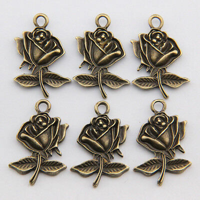 20Pcs Alloy Rose Flower Pendant Accessories DIY Jewelry Making Findings HH3731