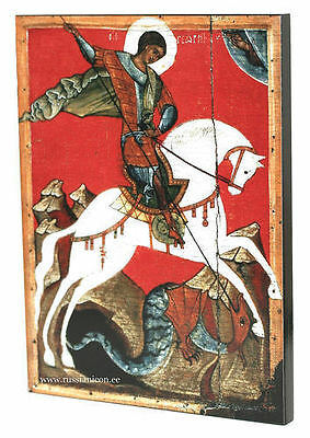 BIG RARE RUSSIAN ORTHODOX ICON - THE MIRACLE OF ST.GEORGE. Early XIV th century.