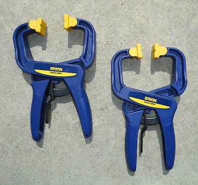 "Pair of Irwin Brand, 2""  Mini Quick Grip One-Handed Clamps."