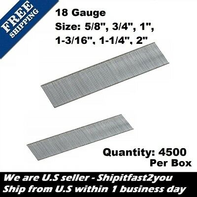"18 Gauge Galvanized Finish Brad Nails 4,500 Count Per Box 5/8"" 3/4"" 1"" 1-3/16"" 2"