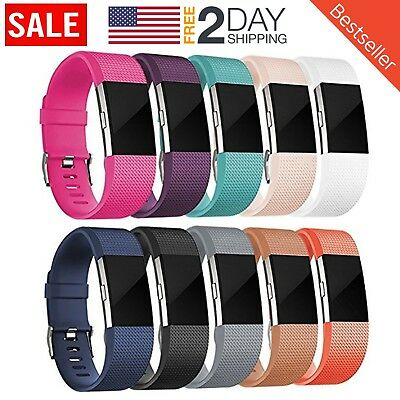 10 Pack Replacement Wristband For Fitbit Charge 2 Band Silicone Fitness S/M
