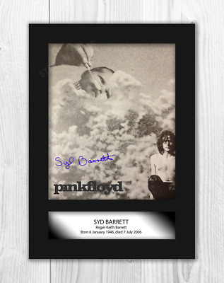 Syd Barrett Pink Floyd (2) A4 signed mounted photograph poster. Choice of frame.