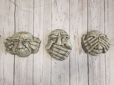 Hear See & Speak No Evil Set Of Gargoyle Funny Face Wall Plaques Tree Decoration