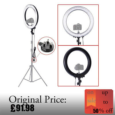 """Camera Photograph/Video 18"""" Dimmable Ring Fluorescent Flash Light 600W 5500k UK"""
