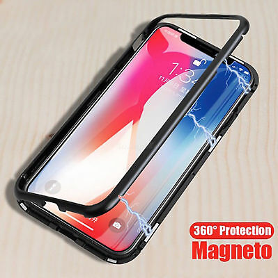 Magnetische Adsorption Metallgehäuse für iPhone x 7 8 Plus LUXUS Hartglas Cover