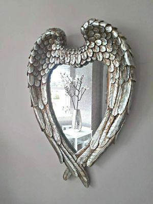 Small Antique Silver Angel Wings Mirror Shabby Chic Heart Ornate Wall Vanity