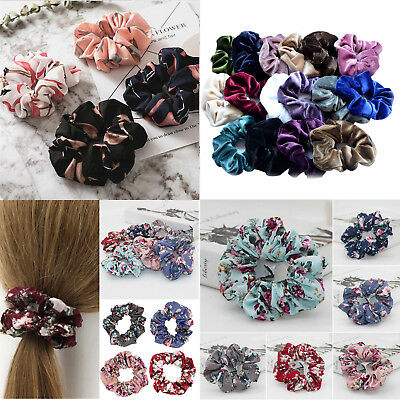 4x Lady Girls Hair Scrunchies Bun Ring Elastic Fashion Flamingos Scrunchie Donut