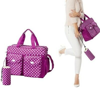 3PCs Baby Nappy Changing Diaper Bag Set 3in1 Rug, Bottle Holder, Bag Purple