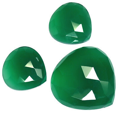 Natural Green Onyx Drilled Rose Cut Heart Set 87.50 Cts For Pendant & Earrings