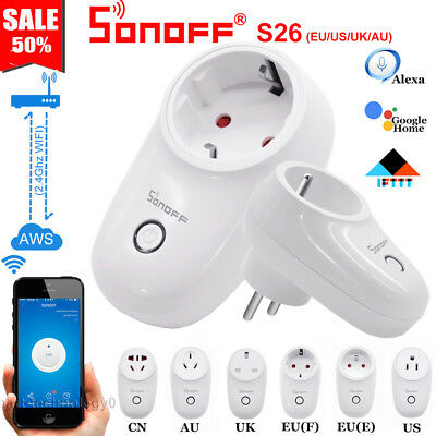 Sonoff S26 TFTTT WIFI Smart Power Socket Wireless Plug Time Fr Alexa Google Home