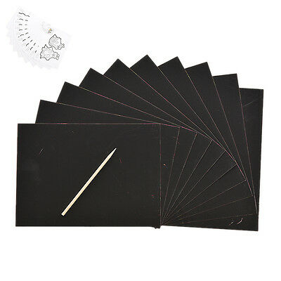 10 feuilles Magic Scratch art papier Coloriage grattage dessin avec bâton