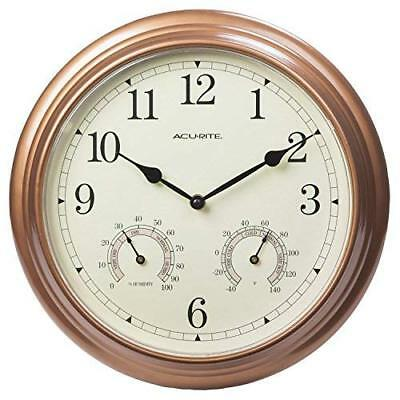 AcuRite 00919 13-Inch Copper Indoor/Outdoor Wall Clock with Thermometer and Hygr