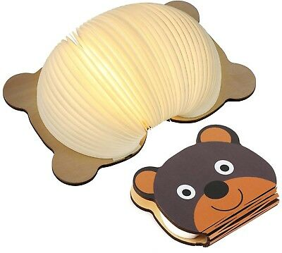 Wooden Book Lamp For Kids, Magicfly Bear Style Folding Book Light USB Book 4