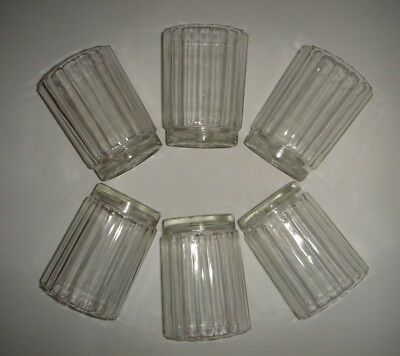 Set 6 Depression Glass Drinking Glasses Ribbed w. Star Base Water Cordial Juice