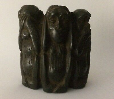 Rare ANTIQUE ANCIENT EGYPTIAN STATUE 3 Baboons MONKEYS Carved STONE 332-395 BC
