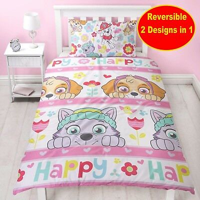 New Paw Patrol 'Bright' Single Duvet Quilt Cover Set Girls Kids Pink