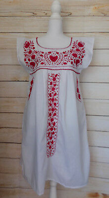 Womens Medium White Mexican Dress Handmade Floral Embroidered Sundress Wedding