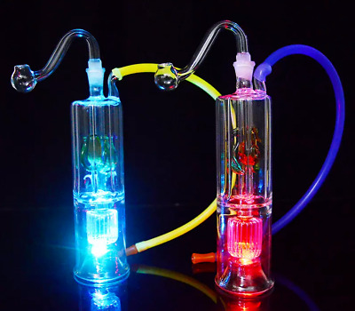 """LED Glass Bong Mini Dabber Rig 5"""" Water Pipe 10mm Joint Portable Bubbler"""