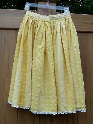 Vintage 1950s Skirt Yellow Stripes Pleated Rockabilly ~ Chenille Tufts ~ Fifties