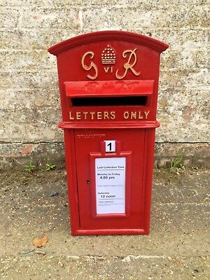 Replica GPO Wall Fascia Royal Mail King George GR Post Box Or Letter Box Red
