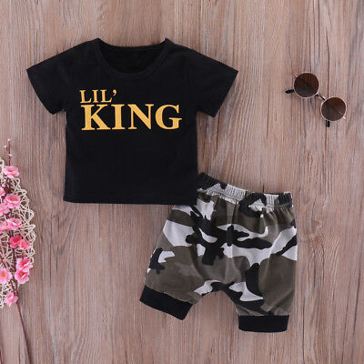 Toddler Kids Baby Boy Letter T shirt Tops+Camouflage Pants Outfits Clothes Set