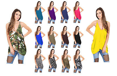 New Ladies Romper V Neck Loose Baggy Fit Ladies Cami Lagenlook Cami Vest Top