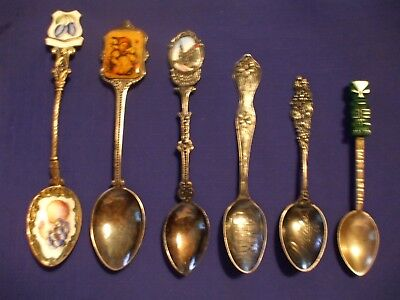 Lot Of (6) Vintage And Antique Souvenir Spoons Sterling And Plated Enameled