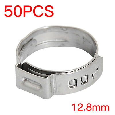 """50PCS 1/2"""" PEX Tubing Ear Clamp Cinch Rings Crimp Pinch Fitting Stainless Steel"""
