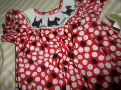 9d26a876d nwt Be Mine red polkadot smocked scotty dog bishop dress baby girl 12 m