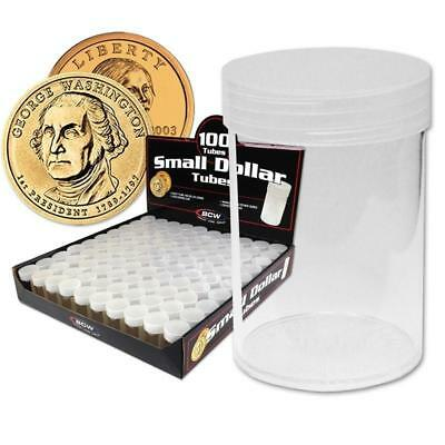 5 New Bcw Round Small Dollar Clear Plastic Coin Storage Tubes W/ Screw On Caps