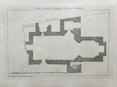 1793 Antique Print; Cormac's Chapel Plan, Cashel Cathedral, Tipperary, by Grose