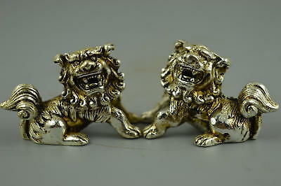 Decor Old Chinese tibet silver carve LOVELY pair little lion rare ancient statue