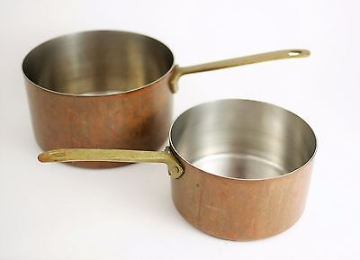 VINTAGE PAUL REVERE Lot of 2 Copper Sauce Pans Pots - 1 Qt & 2 Qt Stove Cookware