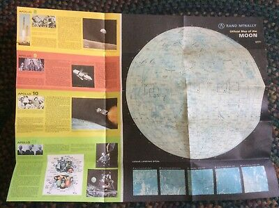 """Large~Vintage~ Poster~1969 Rand McNally MAP of The MOON~24.5"""" x 18.5""""~Very Nice"""
