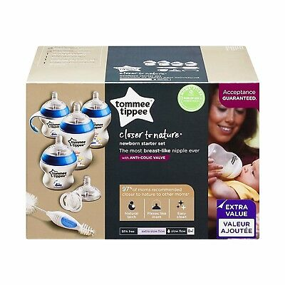 Tommee Tippee Closer to Nature Newborn Baby Boys Bottle Starter Gift Set - Blue