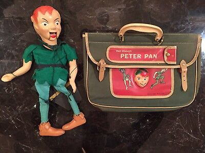 RARE PETER PAN SCHOOL BOOK BAG with 3D Face & MARIONETTE 1950's